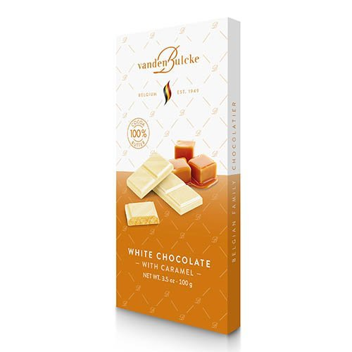 Tablet white chocolate with caramel | Vandenbulcke shop online